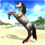 Beautiful white horse in Star Stable the horse game